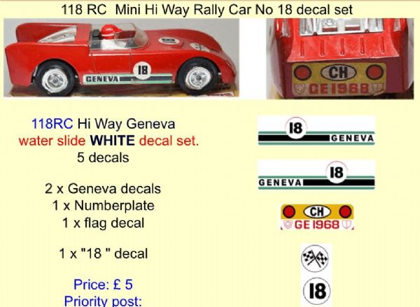 118 Tri-ang RC  Mini Hi Way Rally Car No 18 decal set